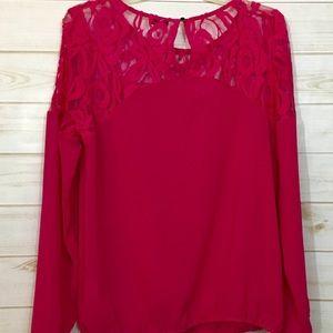 Tops - C'EST femme brand hot pink top w/beading